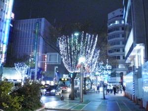 街の木も電飾されてるな~
