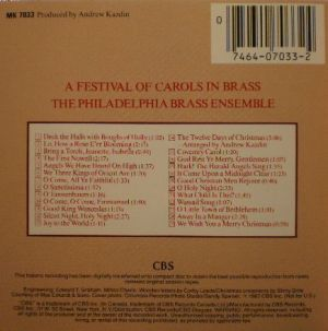 CBS RECORDS MK7033, A Festival of Carols in BRASS, Philadelphia Brass Ensemble