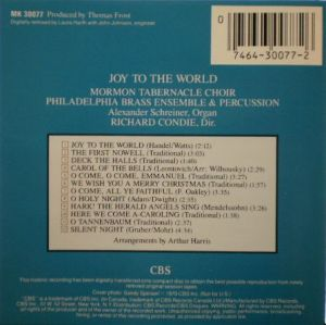 CBS RECORDS MK30077, Joy to the World, Mormon Tabernacle Choir, Philadelphia Brass Ensemble & Percussion, etc..