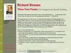 Voyager Presents Version2.0 - Richard Strauss Three Tone Poems CD Companion by Russell Steinberg