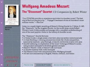 Voyager Presents Version2.0 - Wolfgang Amadeus Mozart The Dissonant Quartet CD Companion by Robert Winter