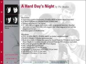 Voyager Presents Version2.0 - A Hard Day's Night by Beatles - System Requirements