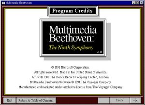 Legendary Multimedia - Multimedia Beethoven Program Credits