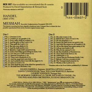 CBS Records Masterworks M2K607 Handel - Messiah