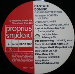 Proprius PROP7762 Cantate Domino Label