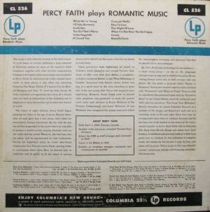 Columbia CL526 Percy Faith plays Romantic Music jacket liner notes