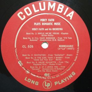 Columbia CL526 Percy Faith plays Romantic Music Label