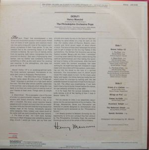 RCA Red Seal LSC-3106 Debut! Henry Mancini conducting The Philadelphia Orchestra Pops Liner Notes