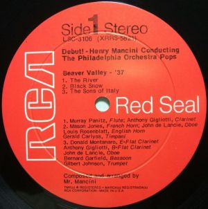 RCA Red Seal LSC-3106 Debut! Henry Mancini conducting The Philadelphia Orchestra Pops Label