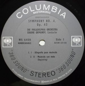 Columbia Masterworks MS 6459 Label