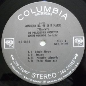 Columbia Masterworks MS 6812 Label