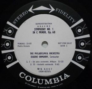 Columbia Masterworks MS 6067 Label