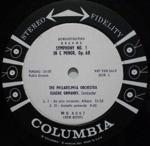 Columbia Masterworks MS 6067 Label