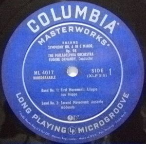 Columbia Masterworks ML 4017 Label