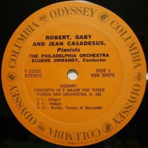 Columbia Masterworks Odyssey Y31531 Label