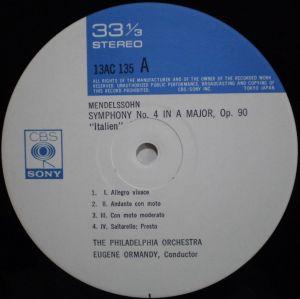 CBS・SONYオーマンディ「音」の饗宴1300 Label