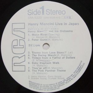 日本ビクター/RCA SRA-5220 Henry Mancini Live in Japan Label