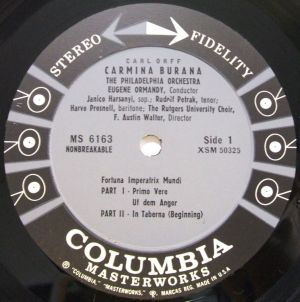 Columbia Masterworks MS6163 Label