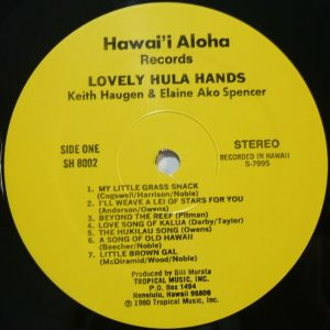 Hawaii Aloha Records SH8002 Lovely Hula Hands Label