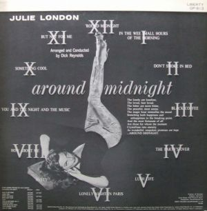 King Records/United Artists/Liberty GP813, Julie London - around midnight jacket Liner