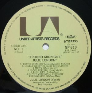 King Records/United Artists/Liberty GP813, Julie London - around midnight Label