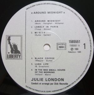 EMI/Pathé Marconi/Liberty - 1565551, Julie London - around midnight Label