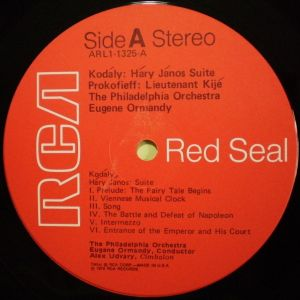 RCA Red Seal ARL1-1325 Label