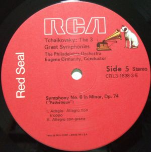 RCA Red Seal CRL3-1838 Tchaikovsky's the 3 Great Symphonies Sided Dog Label
