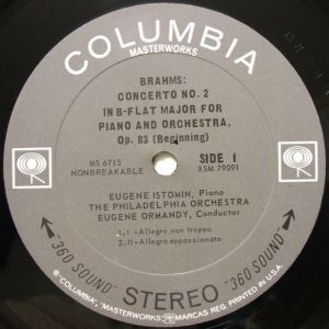 Columbia Masterworks MS6715 Label