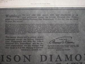 Warning! Edison Diamond Disc Sleeve