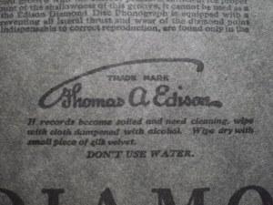 Warning! Do Not Water! Edison Diamond Disc Sleeve