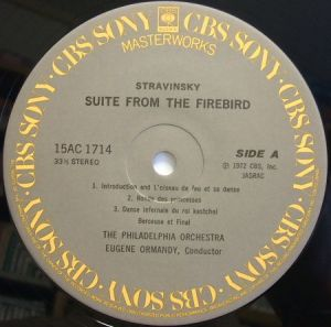 CBSソニー 「オーマンディ名曲ベスト30」 15AC1714 「火の鳥」「ペトルーシュカ」 ラベル