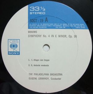 CBS SONY SOCT 19 オーマンディ音の饗宴1300 ブラームス交響曲4番 Label